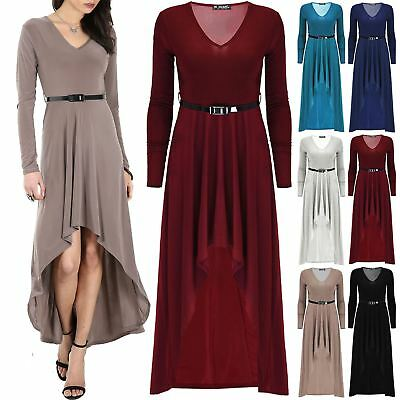 Ladies Full Sleeve Maxi Womens Hi Lo Hem Belted Round Neck Plain Flared Dress
