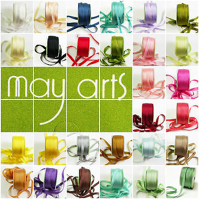 """May Arts 100% Silk 7mm (1/4"""") Ribbon - 31 Colours - 1 & 2m Cut Lengths - Offer"""
