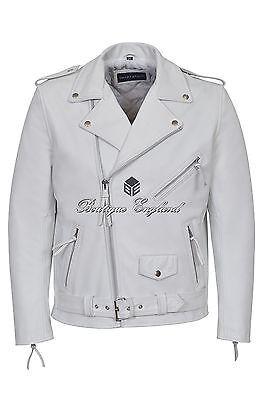 d6bc7b5d39062 BRANDO Leather Jacket WHITE Biker Style 100% REAL HIDE LEATHER BIKER STRONG  MBF