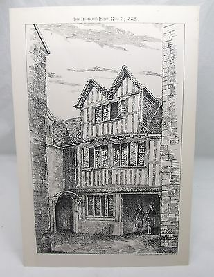 BALLIOL COLLEGE OXFORD UNIVERSITY Antique 19th Century Architecture Plate 1882*