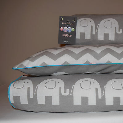 100%COTTON Cot Bed Duvet Cover Set & Fitted Sheet Grey Chevron ZigZag Elephants