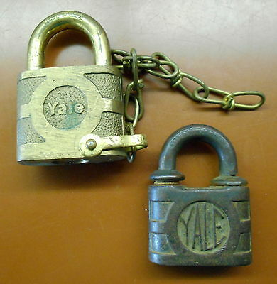 Vintage And Antique Set Of 2 Yale Brass And Iron Locks