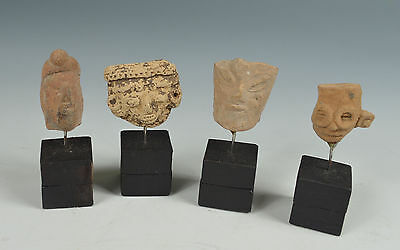 Pre Columbian Ancient Mexico 4 Terracotta Heads