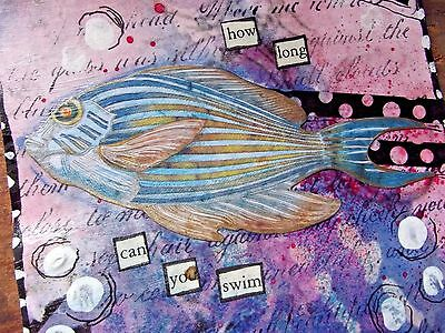 CAN YOU SWIM Original Art Mixed Media Collage  4 X 4 VINTAGE Fish outsider art