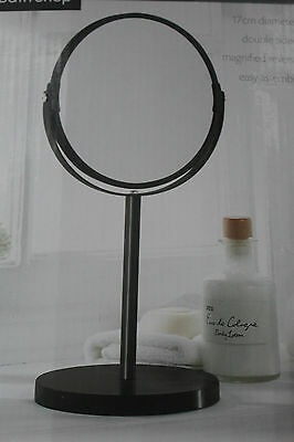 35cm black free standing table mirror shaving make up dual face mirror