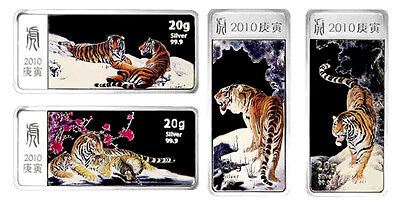 2010 Liberia Year of the Tiger 4x$5 4x20g Silver Proof 4 Coins Set