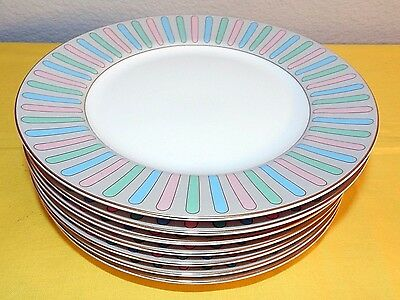 "Set Of 7 Fitz & Floyd Pastel Colonnade 7.5"" Salad Plate Pattern 379 Very Nice"