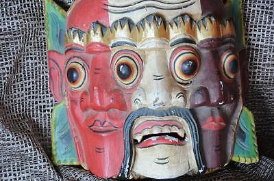 Old Balinese Carved Wooden Triple Face Dance Mask, a colourful & Weird piece..