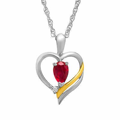 5/8 ct Ruby Heart Pendant with Diamond in Sterling Silver & 14K Gold