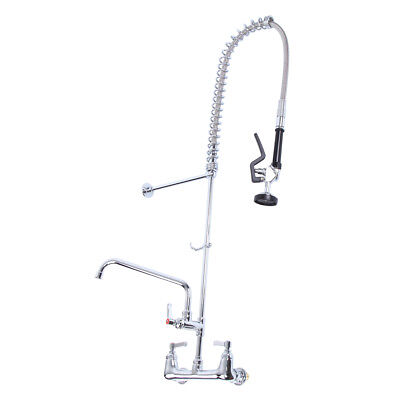 "12"" Commercial Wall Mount Kitchen Pre-Rinse Faucet w/ Add-On Restaurant Tap"