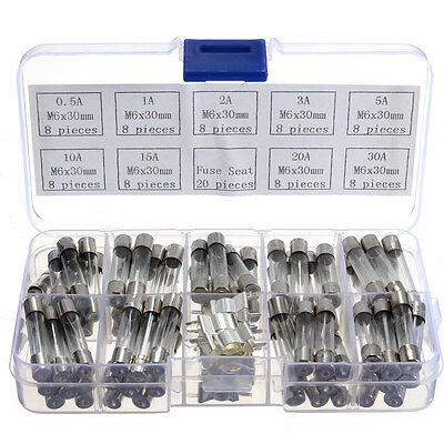 72Pcs 6x30mm Quick Fast Blow Electrical Glass Tube Fuse Assorted Kit 0.5A-30A