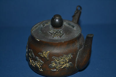 Antique 19th Century Chinese Antimony Novelty Inkwell In Teapot Form,c1890