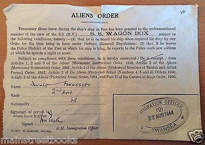 1944 MERCHANT MARINES ALIENS ORDER SHORE LEAVE WWII TANKER SS Wagon Box WALES UK