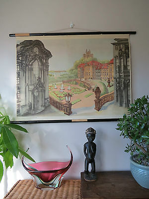 Original Vintage Architectural Pull Down School Wall Chart Of A Baroque Palace