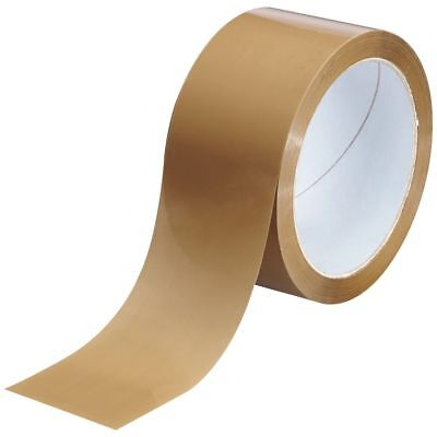 12 PACKING PARCEL ROLLS BROWN-BUFF TAPE PACKAGING CARTOON SEALING 50mm x 66m