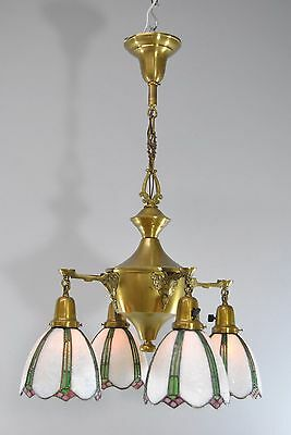Victorian Four Armed Brass Chandelier Light Fixture with Stained Glass Shades