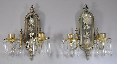 Antique Pair Of Silver Plate Etched Cut Glass Double Candleholders
