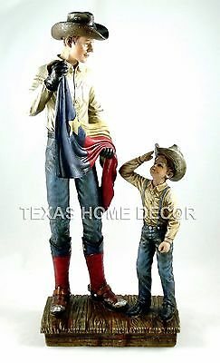 Cowboy Statue Figurine Texas Flag Saluting Western Decor Rustic 18 in tall