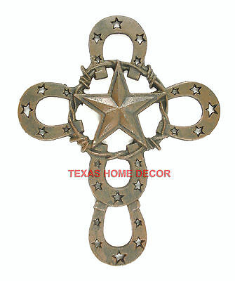 """Texas Star Wall Cross Horseshoes Western Rustic Brown Barbed Wire Cast Iron 13"""""""