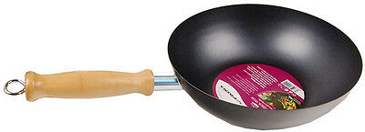 25Cm Pan Carbon Steel Non-Sick Wok With 14Cm Long Wooden Handle New