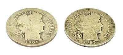 1903-D, 1905-P (2) Barber One Dime Coins Silver 90%  C1823Rz