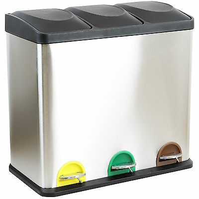 54 Litre Triple Recycling Pedal Bin Compartment Kitchen Rubbish/waste Stainless