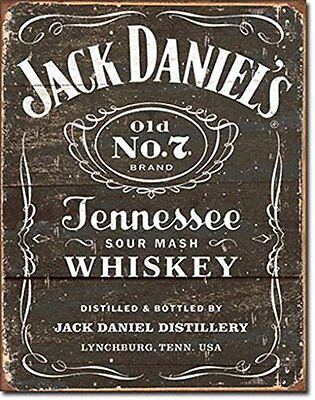 1 X Jack Daniel's - Weathered Logo Metal Tin Sign, New, Free Shipping