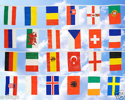 Huge 33Ft European Fabric Flags Bunting Wales Italy Spain Sweden