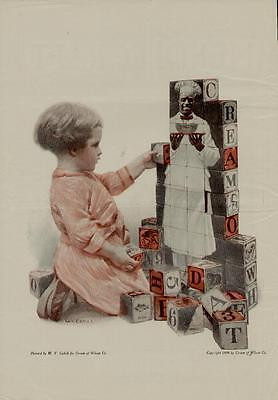 """1909 Cream Of Wheat Ad / """"child With Building Blocks""""  Artists: W.v. Cahill"""