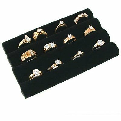 3 Continuous Slot Black Velvet Ring Display Tray Insert, New, Free Shipping