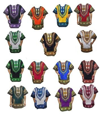 Mens Dashiki Shirt African Clothing Hippie Top Caftan Boho Vintage Blouse 1size