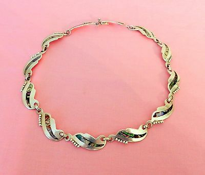 """Vtg Sterling Silver With Abalone Inlaid Leaf Choker Necklace 16"""" Signed Mexico"""