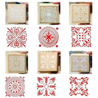 Flower Lace Square Wooden Rubber Stamp Seal Scrapbook DIY Paper Craft
