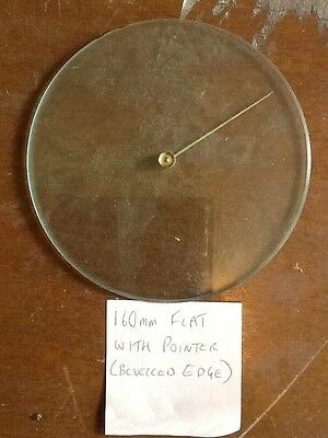 Barometer replacement glass - 160mm Flat with Pointer & Bevelled edge