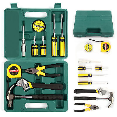 12Pcs Tech Professional Basic Hand Carry Tool Box Kit Fix Repair Home Tools Set