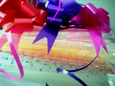 Cellophane Wrap 2/3/4/5 Mtrs + 1 Pull Bow & Free Curling Ribbon Hampers Present