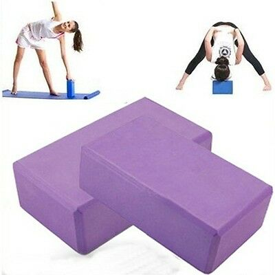 2x Pilates Yoga Block Foaming Foam Brick Exercise Fitness Stretching Aid Gym