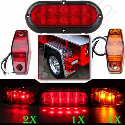 2x Red Stop Turn Tail+Side Marker (4 Amber + 2 Red) Trailer Truck LED Light kit