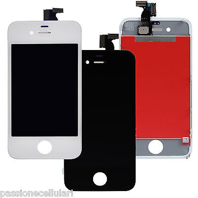 Touch Screen Display Retina Lcd Frame Schermo Vetro Per Iphone 4-4S Bianco Nero