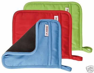 Judge Silicone & Cotton Plain Square Oven Pot Mitt Holder Blue Red Green JTE01