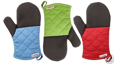 Judge Silicone & Cotton Single Plain Gauntlet Oven Glove Blue Red Green JTE02