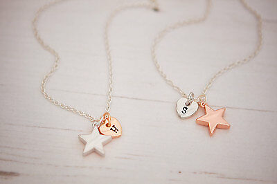Shaard Personalised Silver Rose Plated Star Necklace Bracelet Jewellery Charm