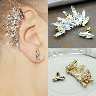Womens Diamante Rhinestone Crystal Ear Cuff Stud Earring Gold Silver Clip Gem