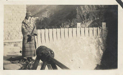 Original 1920S Photograph Of Young Woman Posing At The Hoover Dam