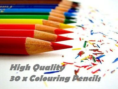 COLOURING PENCIL PACK 30 x LARGE COLOURING SET FOR SCHOOL CLASS CHILDREN/KIDS