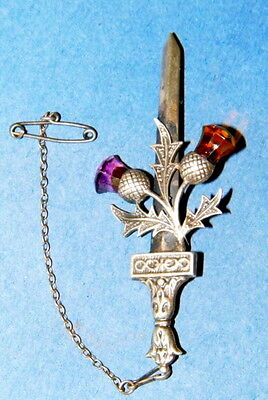 Vintage Scottish Sword And  Thistle Silver Brooch