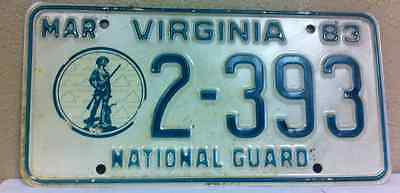1983 VIRGINIA, National Guard, License Plate (2-393)