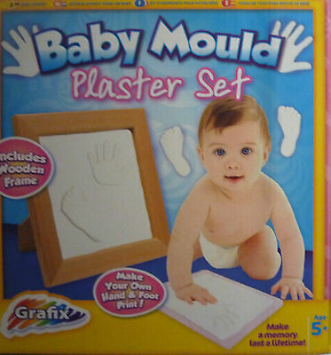 Grafix Foot & Hand Baby Mould Plaster Set with Wooden Frame