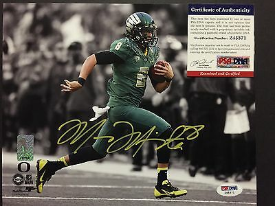 Autographed/Signed MARCUS MARIOTA Oregon Ducks 8x10 Photo PSA/DNA COA #1