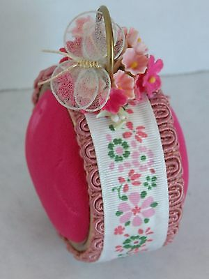 """Vintage Pincushion Pink Velvet Floral Ribbon Butterfly Double Sided 3"""" Pin Sew"""